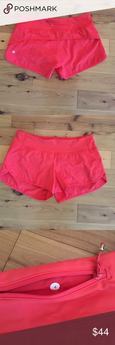 Lululemon speed shorts Excellent used condition lined coral shorts without rips, holes or stains. Perfect for the summer!! lululemon athletica Shorts