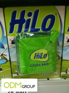 HiLo, an Indonesian milk brand by Nutrifood Indonesia is giving out non-woven green bags as a gift with purchase. ODM loves how HiLo brand the gift with Milk Brands, Promotional Bags, Green Bag, Case Study, Places, Free, Lugares