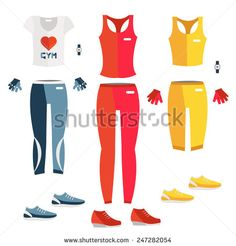 Vector set of fitness dress. Flat icon of fitness dress. Fitness elements. Vector fitness set. Fitness woman set. Vector flat design of fitness. Fitness details. Fitness woman. Fitness equipments.