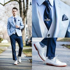 This is a stunning mix of blues and navy. Three piece suit with stripes and spots, solid colours and patterns.