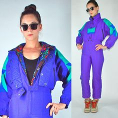 VTG 80s Ski Snow Suit Snowsuit Jumpsuit Bib by BluegrassVoodoo, $88.00