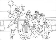 Peter Pan, : Captain Hook Make a Plan to Catch Peter Pan Coloring Page