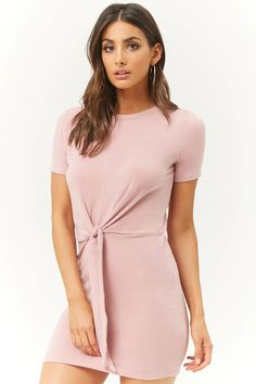 Product Name:French Terry Tie-Front Mini Dress, Category:dress, Shop Forever, Forever 21 Dresses, French Terry, Wardrobe Staples, Pink Dress, Latest Trends, Summer Outfits, Girly, Dresses For Work