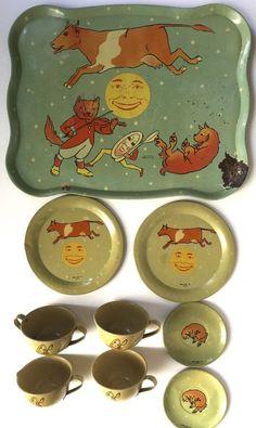 "Vintage 1937 Ohio Art tin-litho child's  toy tea set ""Hey Diddle Diddle"" #OhioArt"