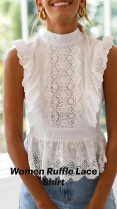 Cute White Dress, White Ruffle Dress, Lace Ruffle, White Casual Dresses, White Lace Tops, Short White Dresses, White Blouses, Dress Black, Plus Size Corset Dress