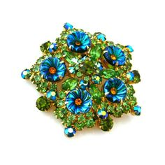 JULIANA Pillowcase Molded Glass Flower Brooch - Vintage D&E Blue Green Rhinestone Pin