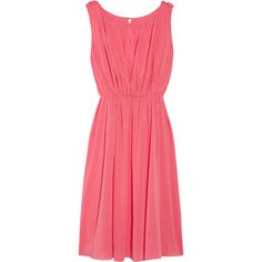 Alice + Olivia Meryl pleated silk-blend chiffon dress via Polyvore