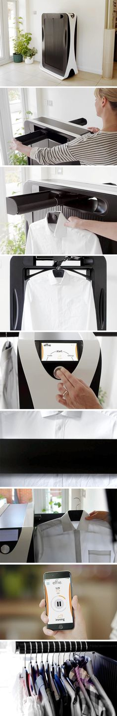 If you have a job that makes you suit up Monday thru Friday, it can seem like all your extra time outside of work is spent pressing your clothes for work! It's time for you to meet Effie – a new domestic appliance that will help you spend more time living and less time getting ready for work. Using a heat, steam and an internal pressing machine, it irons your clothes for you.
