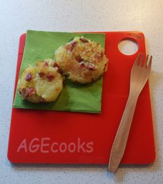 Roesti potato frittata on a red prspex babychef cutting board @AGEcooks