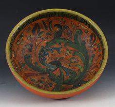 Rosemalt ølbolle med drikkevers innv., tidlig 1900 t. D: 35 cm. Prisantydning: ( 1000 - 1500) Solgt for: 1500