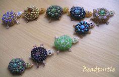 Natalie S Perlen: a series of posts on various ways to make beaded turtles.  #seed #bead #tutorial
