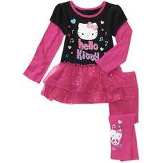 Hello Kitty Baby Girls' 2-Piece Hangdown Tunic and Legging Set