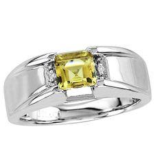 Men's Citrine Ring In Sterling Silver with Genuine Diamonds