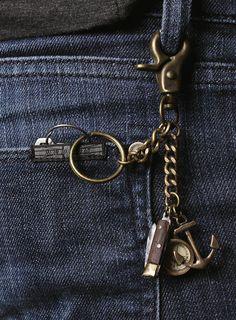 Anchor Knife Compass Keychain