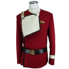 Star Trek TWOK - Captains Uniform - Premier Line (PRE-ORDER) | ANOVOS Productions LLC  Jacket uses custom milled and dyed 100% wool,the same rare fabric used for the original screen used uniform jackets.  We also recreated the Officer's Chest Insignia, rank accouterments, and lapel chain from original screen used examples as physical reference. Thus creating the most accurate representation of rank, badges, and lapel chain without the distortions of time from mould shrinkage or…