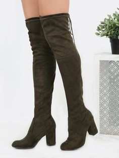 Online shopping for Drawstring Over the Knee Suede Boots OLIVE from a great selection of women's fashion clothing & more at MakeMeChic.COM.