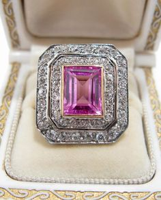 Edwardian French 14K Gold/Platinum Pink Sapphire & Diamond Ring: