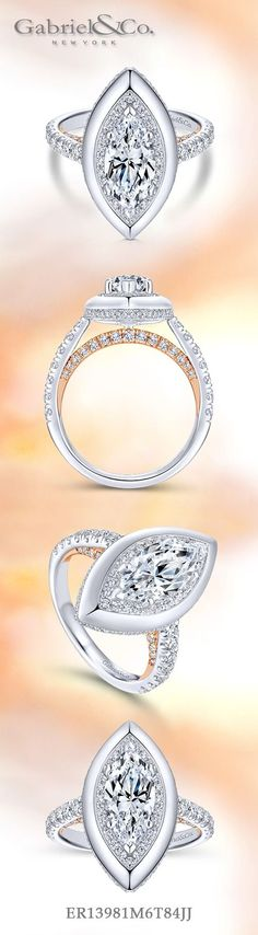 Gabriel NY - Preferred Fine Jewelry and Bridal Brand. 18k White Gold /Rose Gold Marquise Halo Engagement Ring. This unconventional halo ring features an elegant white gold border around a marquise cut stone and diamond halo. The scalloped band is adorned with additional accent diamonds. Find your nearest retailer-> https://www.gabrielny.com/storelocator