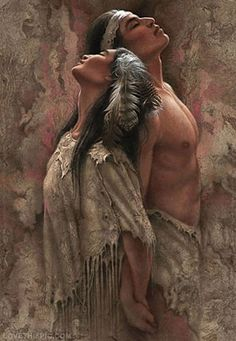 Native American Water Coloring love art couple painting american indian water color native