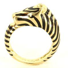 Estate Designer Judith Leiber 18 Karat Yellow Gold Zebra Animal Cocktail Ring $1095