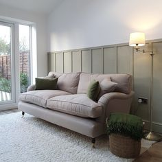 With this beautiful olive wainscoting and a generous portion of natural light, our customer Sylvie has styled her bespoke Alwinton sofa to perfection. How would you style the Alwinton in your home? Discover the British handmade Alwinton sofa today with 15% off T&Cs apply #sofasandstuff #sofa #sofas #handmade #britishsofa #handmadesofa #bespokesofa #periodhome #olivegreen #wainscot #wainscoting #wallpanelling #wallpanels #livingroominterior #livingroominspiration #livingroomideas Bed Mattress, Sofa Bed, Living Room Inspiration, Interior Inspiration, Traditional Sofa, Comfortable Sofa, Wainscoting, Corner Sofa, Living Room Interior