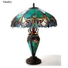 Vintage-Table-Lamp-Tiffany-Style-Lighting-Home-Garden-Antique-Century-Desk-Decor