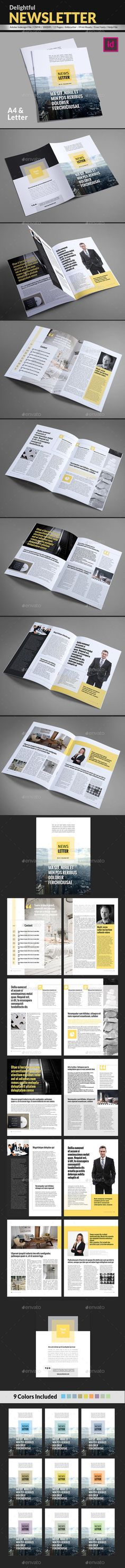 Delightful Newsletter Template - #Newsletters #Print #Templates Download here: https://graphicriver.net/item/delightful-newsletter-template/18215055?ref=alena994