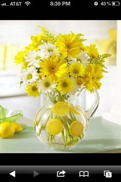 Yellow and white bridal shower -- I have a pitcher like this we could use