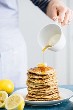 Lemon Poppy Seed Oat Pancakes (Gluten-Free) | A Couple Cooks