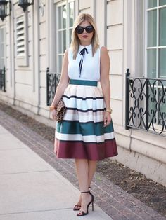 Modest knee length striped colorful printed midi below the knee length skirt | Mode-sty #nolayering
