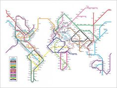 World Map as a Tube Metro System