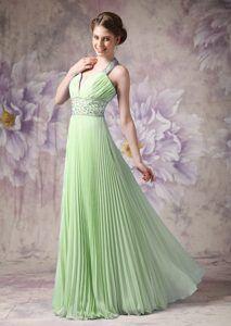 Lovely Light Green A-line Halter Top Chiffon Beaded Cheap Evening Dresses