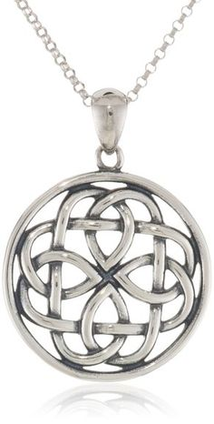 Sterling Silver Celtic Knot Round Pendant Necklace, 18""