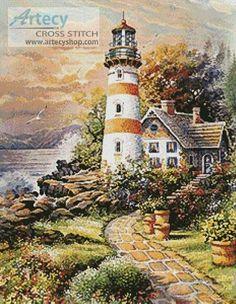 Lighthouse Cottage cross stitch pattern.
