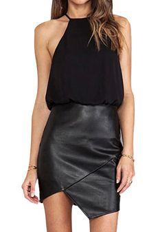 PU-Skirt Halter Neck Dress- With Slightly Split at Front Hem