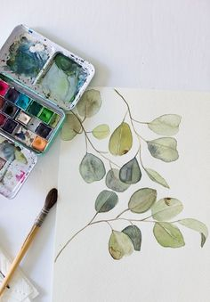 Free watercolor eucalyptus printable and a video watercolor projects, watercolour tutorials, watercolor drawing, Watercolor Art Diy, Watercolor Video, Watercolor Plants, Watercolor Projects, Watercolour Tutorials, Watercolor Techniques, Watercolor Paintings, Watercolors, Watercolor Beginner