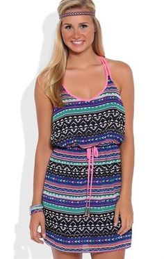 Deb Shops Tribal Print Dress with Neon Trim and Drawstring Waist $35.00