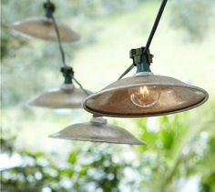 Cafe string lights with metal shades