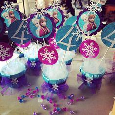 Frozen centerpieces by Bizzie Bee Creations Frozen Centerpieces, Frozen Party Decorations, Birthday Party Decorations, Party Themes, Party Ideas, Frozen Themed Birthday Party, Disney Frozen Birthday, 4th Birthday Parties, 2nd Birthday