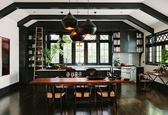 Kitchen Cabinets, Elegant Nice Black Paint Kitchen Beams Style Design Type Of Crown Molding For Kitchen Nice White Color Wall Nice Roof White And Black Color Hanging Lamps Nice Table Wooden Cool Natural: The Types Of Crown Molding For Kitchen Cabinets That Look So Amazing As Your Concept Of Kitchen