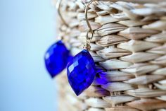 Kyanite Earrings, Simple Bright Jewelry, Blue Quartz Dangle Drop Gemstone Leverback Earrings, 14K Gold Filled, Rose Gold, Sterling Silver