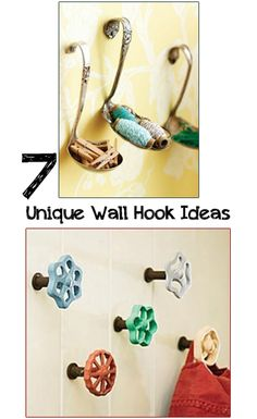 7 Unique Wall Hooks- fun design tricks with hooks and Ways to upcycle household items into creative wall hooks. Cool ideas~