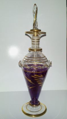 Purple Hand Blown Glass Perfume Bottle with by TatumsKeepsakes, $6.99
