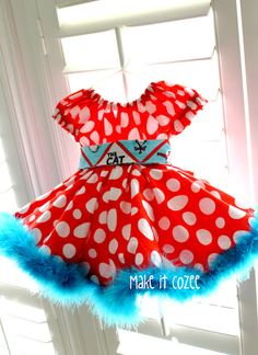 I adore the polka dots, though I might think the feather boa at the bottom is a bit to much, I would replace it with Lace. How do you even clean it with all those small delicate feathers?