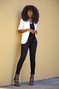Blazer + Bodysuit + Zip Skinny Jeans