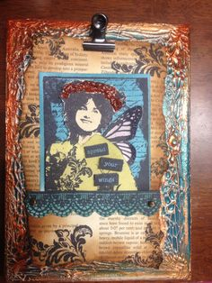 Mixed media on canvas, darkroom stamps and croco crackle . So much fun! Mixed Media Canvas, Art Journal Inspiration, Continents, Stamps, Wings, Paper Crafts, Fun, Seals, Tissue Paper Crafts