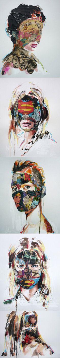 Em algum lugar entre ilustração de moda, pintura e quadrinhos, encontramos o trabalho da artista Sandra Chevrier. Heroínas feitas em papel são retratadas em um mix de técnicas.