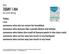 """""""Today I Am"""" © 2016 Janet Wong from YOU JUST WAIT: A POETRY FRIDAY POWER BOOK by Sylvia Vardell and Janet Wong (© Pomelo Books, 2016). Ice Cream For Breakfast, Books 2016, Readers Workshop, Figurative Language, Poems, Waiting, Friday, Activities, School"""