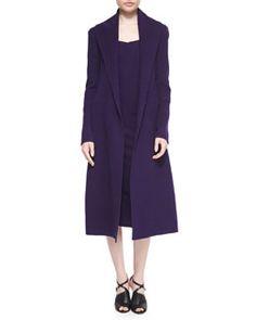 Donna Karan Double-Faced Cashmere Wrap Coat & Fluid Crepe Sheath Dress Fall 2015