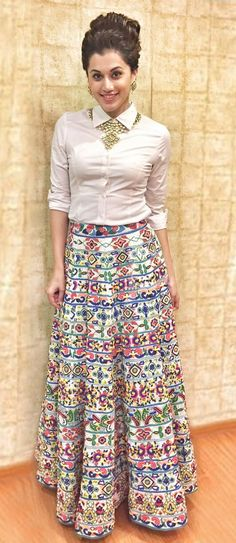 Buy White Shirt with Multicolored Lehenga at Rs. Get Lehenga for womens at Ethnic Factory. Indian Gowns Dresses, Indian Fashion Dresses, Indian Designer Outfits, Skirt Fashion, White Shirt Outfits, Long Skirt Outfits, Stylish Dresses For Girls, Stylish Dress Designs, Funky Dresses